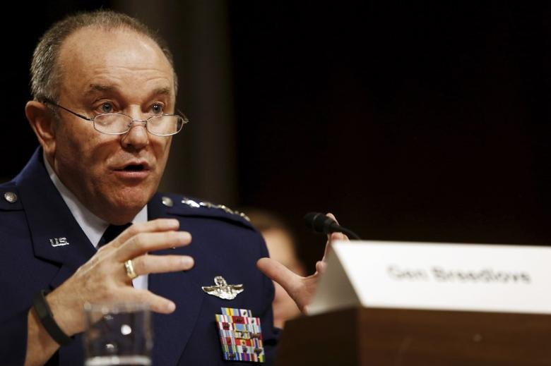 U.S. Air Force Gen. Philip Breedlove, commander of the U.S. European Command and Supreme Allied Commander for Europe, testifies before a Senate Armed Services Committee hearing on Capitol Hill in Washington, April 30, 2015. REUTERS/Jonathan Ernst