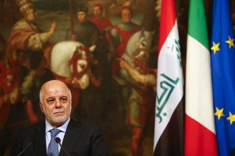 Iraqi Prime Minister Haider Al-Abadi looks on during a joint news conference with Italian Prime Minister Matteo Renzi at the end of a meeting at Chigi Palace in Rome, Italy February 10, 2016. REUTERS/Tony Gentile