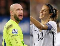 Tim Howard and Carli Lloyd of the men's and women's U.S. soccer teams. REUTERS/Action Images/Jason Cairnduff/USA Today Sports/Thomas B. Shea