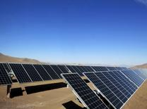 Solar panels of local mining company CAP, which were installed by SunEdison, are seen in the Atacama Desert, in this June 5, 2014 file photo. REUTERS/Fabian Andres Cambero/Files