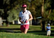 Apr 1, 2016; Rancho Mirage, CA, USA; Lexi Thompson prepares a shot on the second hole during the second round of the ANA Inspiration tournament at Mission Hills CC - Dinah Shore Tournament Course. Mandatory Credit: Kelvin Kuo-USA TODAY Sports