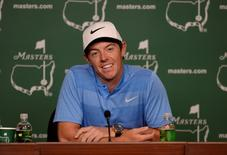 Apr 5, 2016; Augusta, GA, USA;  Rory McIlroy answers questions during a Tuesday press conference for the 2016 Masters at Augusta National GC. Mandatory Credit: Michael Madrid-USA TODAY Sports
