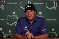 Apr 5, 2016; Augusta, GA, USA;  Two-time Masters champion Phil Mickelson answers questions during a Tuesday press conference for the 2016 Masters at Augusta National GC. Mandatory Credit: Michael Madrid-USA TODAY Sports