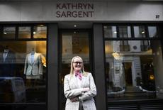 Master Tailor Kathryn Sargent poses outside her Bespoke Tailoring shop at Saville Row in central London, Britain, April 6, 2016 .  REUTERS/Dylan Martinez