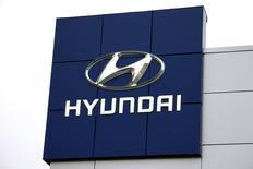 The Hyundai logo is seen outside a Hyundai car dealer in Golden, Colorado, November 3, 2014. REUTERS/Rick Wilking