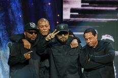 (L-R) MC Ren, Dr. Dre, Ice Cube and DJ Yella of N.W.A. pose for a picture onstage after speaking at the 31st annual Rock and Roll Hall of Fame Induction Ceremony at the Barclays Center in Brooklyn, New York April 8, 2016. REUTERS/Eduardo Munoz