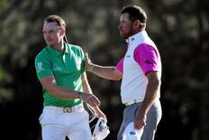 Apr 10, 2016; Augusta, GA, USA; Danny Willett (left) is congratulated by Lee Westwood (right) after the final round of the 2016 The Masters golf tournament at Augusta National Golf Club. Michael Madrid-USA TODAY Sports