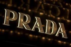 A Prada company logo is displayed outside its shop at the financial Central district of Hong Kong, China November 10, 2015. REUTERS/Bobby Yip