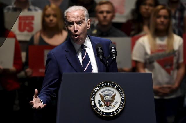 U.S. Vice President Joe Biden speaks during an event to bring awareness to sexual assault on college campuses in Las Vegas, Nevada April 7, 2016.  REUTERS/David Becker