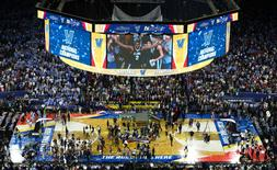 Apr 4, 2016; Houston, TX, USA; Villanova Wildcats forward Kris Jenkins (2) visible on the screen as he celebrates the win over North Carolina Tar Heels in the championship game of the 2016 NCAA Men's Final Four at NRG Stadium. Mandatory Credit: Kevin Jairaj-USA TODAY Sports