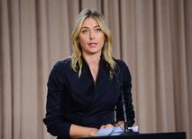 Mar 7, 2016; Los Angeles, CA, USA; Maria Sharapova speaks to the media announcing a failed drug test after the Australian Open during a press conference today at The LA Hotel Downtown. Mandatory Credit: Jayne Kamin-Oncea-USA TODAY Sports -