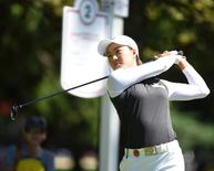 Aug 22, 2015; Coquitlam, British Columbia, CAN; Minjee Lee drives from the second tee during the third round at Vancouver Golf Club. Anne-Marie Sorvin-USA TODAY Sports