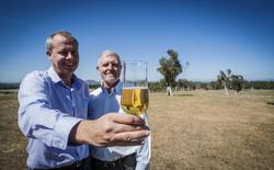 "Researchers Crispin Howitt (L) and Phil Larkin from Australia's Commonwealth Scientific and Industrial Research Organisation (CSIRO) hold a glass of beer in Australia's capital, Canberra, March 3, 2016. Australian government scientists say they've developed the world's first ever variety of ""gluten-free"" barley after a successful plant breeding program. Picture taken March 3, 2016.  REUTERS/CSIRO/Handout via Reuters"