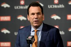 Mar 7, 2016; Englewood, CO, USA;  Denver Broncos head coach Gary Kubiak  speaks during the retirement announcement press conference for quarterback Peyton Manning (not pictured) at the UCHealth Training Center. Ron Chenoy-USA TODAY Sports