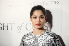 "Cast member Freida Pinto poses at the LA premiere of the film ""Knight of Cups"" in Los Angeles, March 1, 2016. REUTERS/Danny Moloshok"