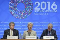 International Monetary Fund Managing Director Christine Lagarde participates in a news conference during the spring meetings of the IMF and the World Bank in Washington April 14, 2016. REUTERS/Joshua Roberts