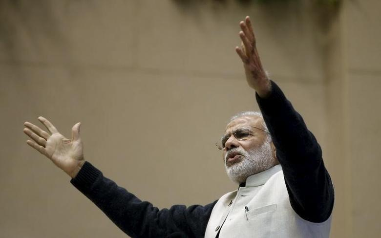 India's Prime Minister Narendra Modi gestures as he addresses a gathering   in New Delhi, India, January 16, 2016.  REUTERS/Adnan Abidi