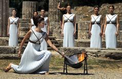 Ensaio da cerimônia de acendimento da tocha olímpica dos Jogos Rio 2016 em Olímpia, na Grécia. 20/04/2016 REUTERS/Yannis Behrakis