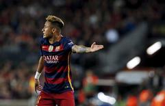 Football Soccer - Barcelona v Valencia - Spanish Liga BBVA - Camp Nou stadium, Barcelona - 17/4/16Barcelona's Neymar reacts against Valencia.  REUTERS/Albert Gea
