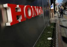 A logo of Honda Motor Co is seen outside the company's dealership in Tokyo, Japan, January 27, 2016.  REUTERS/Yuya Shino