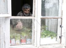 Пенсионер поливает рассаду в своем доме в Звенигороде 11 апреля 2016 года. Российской пенсионерке Елене Бычковой этой весной не до кризиса - она уже посадила картофель на своем небольшом участке и готовится ежедневно трудиться, чтобы вырастить урожай овощей, которого ее семье хватит до следующего лета. REUTERS/Maxim Zmeyev