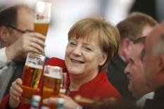 German Chancellor Angela Merkel attends the 500th anniversary ceremony of the German Beer Purity Law (Reinheitsgebot) in Ingolstadt, Germany, April 22, 2016.  REUTERS/Michaela Rehle