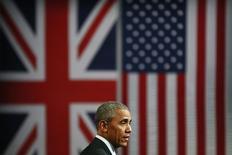 Un acuerdo de libre comercio entre Reino Unido y Estados Unidos podría tardar cinco a 10 años en negociarse si los votantes británicos aprueban salir de la Unión Europea en el referendo del 23 de junio, dijo el presidente estadounidense Barack Obama en una entrevista a la BBC difundida el domingo. En la imagen, Obama durante un acto en Londres, el 23 de abril de 2016. REUTERS/Stefan Wermuth
