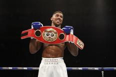 Anthony Joshua celebrates his win Action Images via Reuters /Andrew Couldridge
