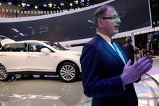 Cadillac President Johan de Nysschen speaks to reporters during Auto China 2016 auto show in Beijing April 25, 2016.  REUTERS/Kim Kyung-Hoon