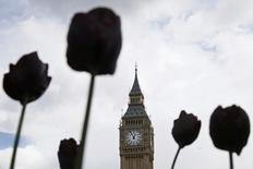 Big Ben bell tower is seen between flowers in central London, Britain April 26, 2016. REUTERS/Stefan Wermuth