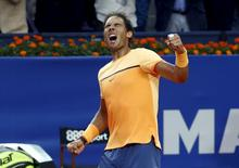 Rafael Nadal of Spain reacts after winning the Barcelona Open tennis tournament against Kei Nishikori of Japan in Barcelona, Spain, April 24, 2016. REUTERS/Albert Gea