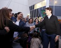 Prime Minister Justin Trudeau greets the crowd after a meeting with the File Hills Qu'Appelle Tribal Council in Fort Qu'Appelle, Saskatchewan, Canada on April 26, 2016. REUTERS/David Stobbe