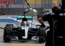 Formula One - Russian Grand Prix - Sochi, Russia - 29/4/16 - Mercedes Formula One driver Lewis Hamilton of Britain drives during the first practice session. REUTERS/Maxim Shemetov