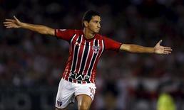 Ganso comemora gol do São Paulo contra o River Plate. 10/3/16.   REUTERS/Marcos Brindicci