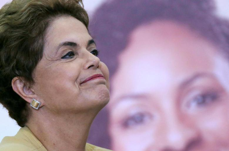 Brazilian President Dilma Rousseff reacts as she attends a ceremony marking the extension of the Programa Mais Medicos (Program More Doctors), at the Planalto Palace in Brasilia, Brazil April 29, 2016. REUTERS/Ueslei Marcelino