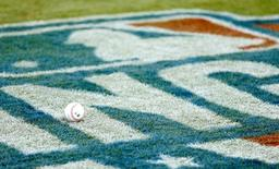 Apr 6, 2016; Atlanta, GA, USA; A baseball is shown on the Major League logo before the Atlanta Braves host the Washington Nationals at Turner Field. Mandatory Credit: Jason Getz-USA TODAY Sports