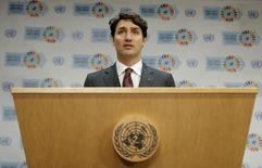 Canadian Prime Minister Justin Trudeau speaks during a press conference held on the sidelines of the Paris Agreement on climate change held at the United Nations Headquarters in Manhattan, New York, U.S., April 22, 2016. REUTERS/Brendan McDermid