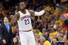 May 4, 2016; Cleveland, OH, USA; Cleveland Cavaliers forward LeBron James (23) calls a play during the second quarter in game two of the second round of the NBA Playoffs at Quicken Loans Arena. Mandatory Credit: Ken Blaze-USA TODAY Sports