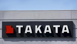 A sign with the Takata logo is seen outside the Takata Corporation building in Auburn Hills, Michigan, U.S. May 20, 2015. REUTERS/Rebecca Cook/File Photo
