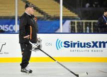 January 24, 2014; Los Angeles, CA, USA; Bruce Boudreau at Dodger Stadium. Mandatory Credit: Gary A. Vasquez-USA TODAY Sports