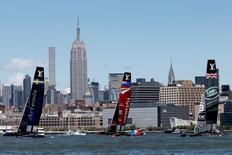 AAC45F racing sailboats Emirates Team New Zealand, Artemis Racing and Land Rover BAR sail in race one during the America's Cup World Series sailing event in New York, U.S., May 8, 2016. REUTERS/Mike Segar