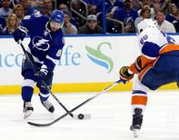 Tampa Bay Lightning right wing Nikita Kucherov (86) passes the puck against the New York Islanders during the third period in game five of the second round of the 2016 Stanley Cup Playoffs at Amalie Arena.  Kim Klement-USA TODAY Sports