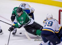 May 11, 2016; Dallas, TX, USA; St. Louis Blues defenseman Alex Pietrangelo (27) checks Dallas Stars center Radek Faksa (12) during the third period in game seven of the second round of the 2016 Stanley Cup Playoffs at American Airlines Center. The Blues won 6-1. Mandatory Credit: Jerome Miron-USA TODAY Sports