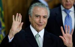 Temer durante cerimônia no Palácio do Planalto. 12/5/2016.       REUTERS/Ueslei Marcelino