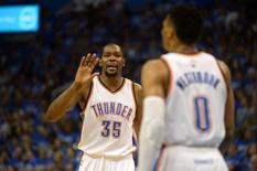 May 12, 2016; Oklahoma City, OK, USA; Oklahoma City Thunder forward Kevin Durant (35) reacts after a play against the San Antonio Spurs during the third quarter in game six of the second round of the NBA Playoffs at Chesapeake Energy Arena. Mandatory Credit: Mark D. Smith-USA TODAY Sports