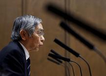 Bank of Japan (BOJ) Governor Haruhiko Kuroda speaks during an upper house financial committee meeting of the Parliament in Tokyo, Japan February 18, 2016.  REUTERS/Toru Hanai/File Photo
