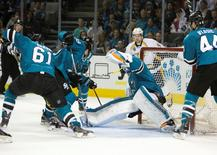 May 12, 2016; San Jose, CA, USA; San Jose Sharks goalie Martin Jones (31) makes a save against against the Nashville Predators in the first period in game seven of the second round of the 2016 Stanley Cup Playoffs at SAP Center at San Jose. Mandatory Credit: Neville E. Guard-USA TODAY Sports