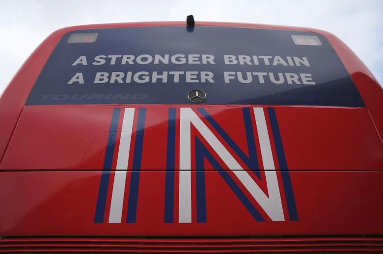 The 'Brighter Future In' campaign bus is seen at its launch at Exeter University in Exeter, Britain April 7, 2016. REUTERS/Dan Kitwood/Pool