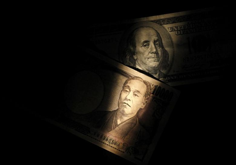 Light is cast on a U.S. one-hundred dollar bill next to a Japanese 10,000 yen note in this picture illustration shot February 28, 2013.   REUTERS/Shohei Miyano/Illustration/File Photo
