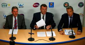 File photo of International Tennis Federation (ITF) President David Haggerty (L-R), Tennis Integrity Board Chairman Philip Brook and Association of Tennis Professionals (ATP) Chairman Chris Kermode holding a news conference at the Australian Open tennis tournament at Melbourne Park, Australia, January 27, 2016. REUTERS/Jason Reed